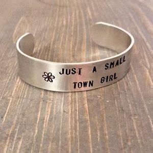 handmade Jewelry - Hand stamped adjustable metal cuff bracelet set
